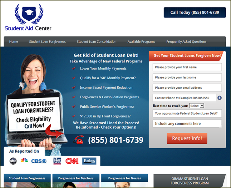 Screenshot of sample deceptive student debt relief ad.