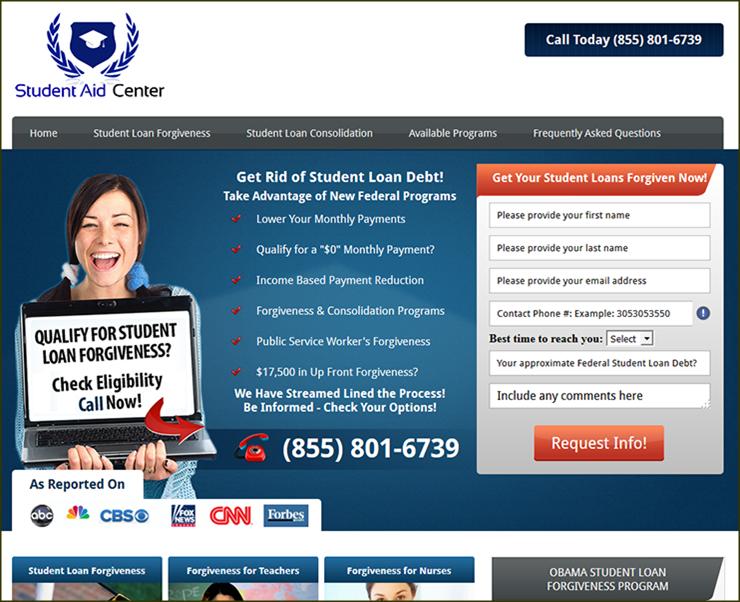 Captura de pantalla de un ejemplo de un anuncio engañoso  de alivio de préstamos estudiantiles
