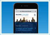 mobile phone showing miltary.consumer.gov website