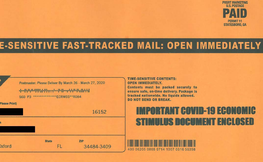 The envelope used for the defendants' mailer