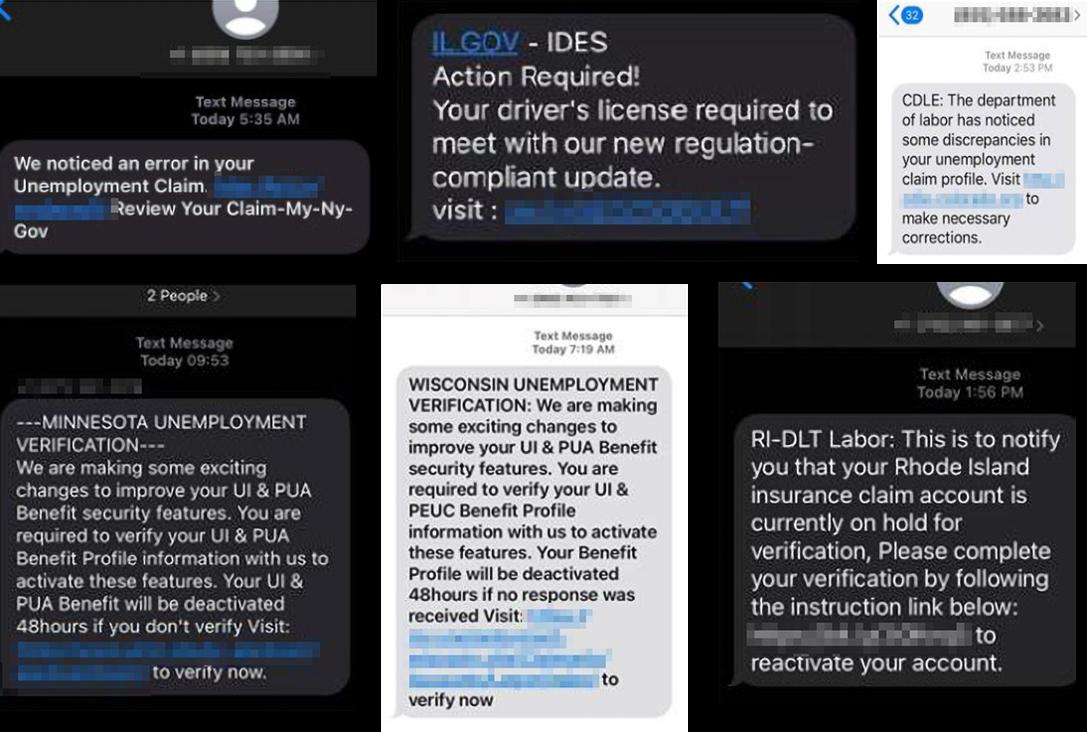 Unemployment insurance scam texts