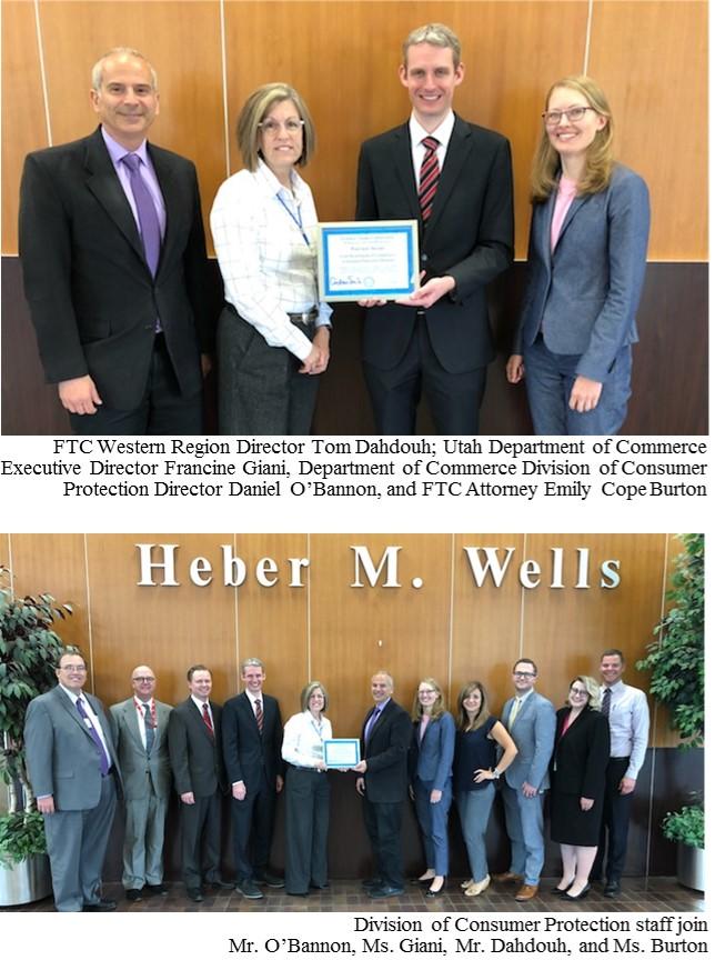 FTC presents BCP Partner Award to Utah Division of Consumer Protection
