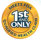 Gold badge stating 'First and only. Meets FDA qualified health claim.'
