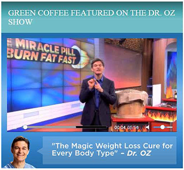 Image from Dr. Oz TV show about green coffee, with him quoted as saying 'The magic weight loss cure for every body type'