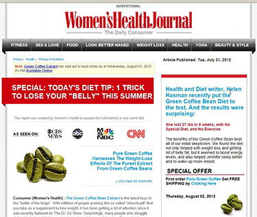 Women's Health Journal fake news website containing advertising content such as 'Pure Green Coffee harnesses the weight loss effects of the purest extract from green coffee beans' claiming 'as seen on' with logos of CBS News, ABC, CNN, MSNBC