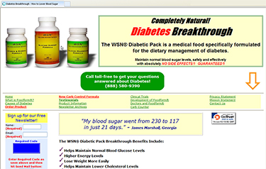 web page advertising WSN Diabetic Pack as 'Completely natural diabetes breakthrough'