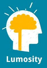 Lumosity logo, a brain inside a head with rays emanating from it