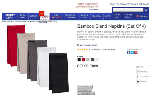 web page selling rayon napkins labeled as bamboo