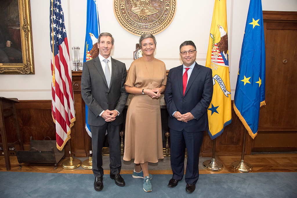 Chairman Joseph Simons of the U.S. Federal Trade Commission, Assistant Attorney General Makan Delrahim of the U.S Department of Justice's Antitrust Division, and Commissioner Margrethe Vestager of the European Commission